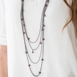 Long Dark Brown Pearl Multi Tier Necklace